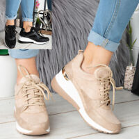 Ladies Wedge Hidden Trainers Womens Sneakers Lace Up Comfy Classic Pumps Shoes