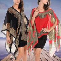 Elegant Women Lady Chiffon Floral Print Cape Kaftan Poncho Blouse Top New