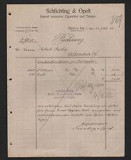BERLIN, Rechnung 1907, Schlichting & Opelt Import russischer Zigaretten Tabak