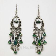 Tibetan Silver Plated Vintage Style GREEN Beads Leaves Tassel Drop Earrings UK