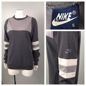 1980s Nike Blue Label Swoosh Long Sleeve Color Block Crew Neck T Shirt / Small