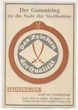 Der Gummiring ist die Seele der Sterilisation, Werbeaufsteller um 1930