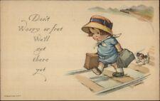 Little Boy Walking the RR Train Tracks w/ Dog c1915 Postcard