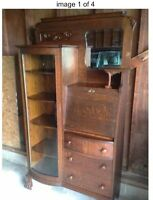 "Antique Quarter Sawn Tiger Eye Oak Secretary.   A ""Real Show Stopper""!!"