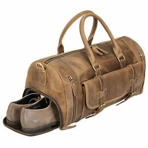 Men Leather Duffle Gym Bag Outdoor Luggage Travel Bag Messenger Bag Trip Handbag