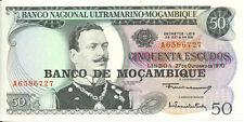 1970 Mozambique Portugal Colony Banco Nacional Ultramarino 50 Escudos UNC p-111