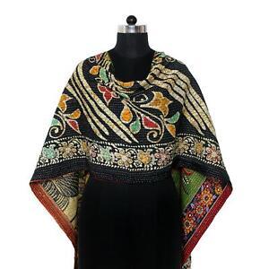 Reversible Indian Kantha Scarf Cotton Sari Stole Women Shawl Hand Stitch Scarf