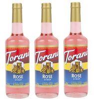 Torani Syrup Rose (25.4 Oz) 3 Pack for Cocktails, Mocktails and Iced Tea drinks