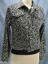 Amanda Smith Stretch jungle leopard Coat Blazer Jean Jacket light animal 6P NEW