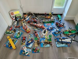 Large Job Lot of Assorted Lego city sets boats ships helicopters cars trucks