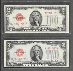 1928 G - ( 2 ) $2 VF * Miscut + Off Center High / Low #S * Red Seal Notes