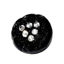 Bouton ancien en verre noir et cristal blanc 18mm button