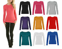 New Womens Long Sleeve Round Neck Plain Basic Ladies Stretch T-Shirt Top 8-14