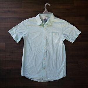 Old Navy Boys Shirt L 10-12 Short Sleeve Button Up Mint Green Linen Blend Shirt