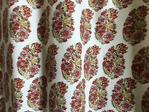 PRETTY POTTERY BARN PAISLEY SHOWER CURTAIN,REDS,GREENS,BLUES100% COTTON