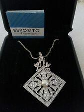 ESPO Esposito Sterling Diamonique Pendant / Necklace - w/ booklet & original box