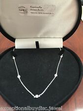 PLATINUM & SS CLASSIC 7 STATION LCS DIAMOND TENNIS NECKLACE 18 INCH FREE EARRING