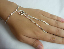 Silver Tone Hand Harness, Bracelet & Ring Armour, Slave Chain, Small Peace Charm