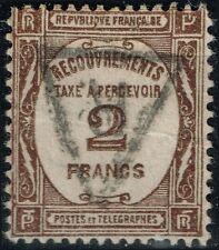 FRANCE RARE TAXE 2F SEPIA N° 62 CACHET R EN TRIANGLE COTE 30.5 € A VOIR