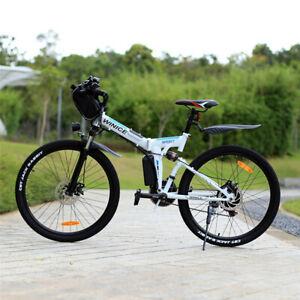 """26"""" Vélo Électrique VTT Pliant,Moteur 250W,Batterie 36V/8Ah / 32km/h /40km,Blanc"""