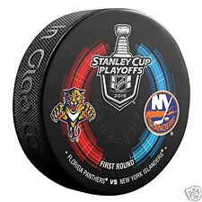 FLORIDA PANTHERS vs NEW YORK ISLANDERS 2016 Playoffs NHL DUELING LOGO PUCK NEW