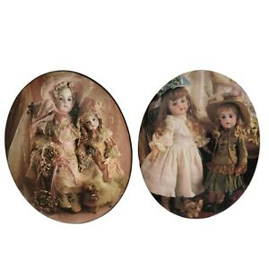 """2 Vintage Domed Oval Decoupage Wall Art Pictures On Wood Doll Images 9""""x7"""""""