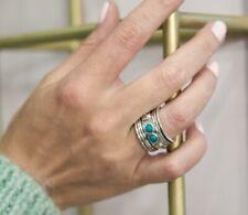 Turquoise Gemstone 925 Sterling Silver Meditation Spinner Statement Ring E4