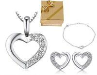 SET Herzkette + Armband + Ohrstecker 925 Silber Damen Kinder Halskette Geschenk