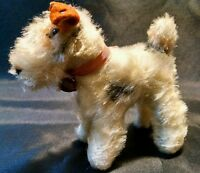 Vintage STEIFF button Mini German Mohair Cute fox Airedale Terrier Standing Dog