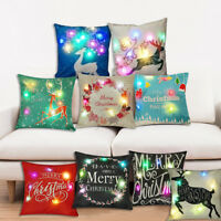 LED Lights Christmas Xmas Linen Cushion Cover Throw Pillow Case Home Decor Sofa
