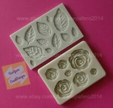 Roses and Rose Leaves Silicone Mold, 2 pcs. For fondant, chocolate, resin, clay.