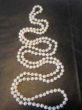 """ELEGANT VINTAGE ENDLESS STAND GENUINE CULTURED PEARL 37"""" HAND KNOTTED NECKLACE"""