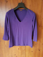 WRAP LONDON JERSEY TOP T-Shirt Dark Purple Stretch UK 8 10 12 / 34 36 38 - NEW