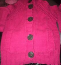 The Gap Girls Sz S 6-7 Raspberry Pink Button Long Sleeve Sweater