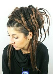 Ombre Brown Crochet Dread Falls, Hair Pieces, 20 Inches, Unisex, Natural, Hippie