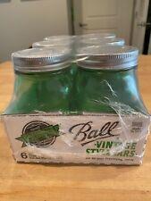 Vintage Style Ball Mason Glass Jars 6 Green Pint Unopened 🍅
