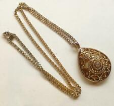 Big Ornate Rhinestone Teardrop Banana Republic BR Stone Pendant Chain Necklace
