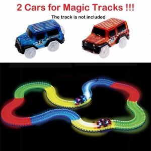 Amazing 2 Cars Glow in the Dark Racetrack Light Up Race Car Toy for Car Track