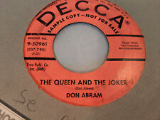 Don Abram 45 The Queen and The Joker/Your Mama's Gonna Miss Promo Country Rocker