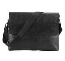 Classic Men Pu Leather Crossbody Handbag Briefcase Shoulder Messenger Bag, Black
