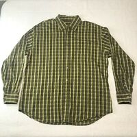 BUGATCHI Uomo Men's Olive Lime Purple Check Shape Fit Button Up Shirt Size XL