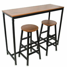 Pub Bars Wooden Table Vintage Rectangular Table with Metal Frame Home Office Bar