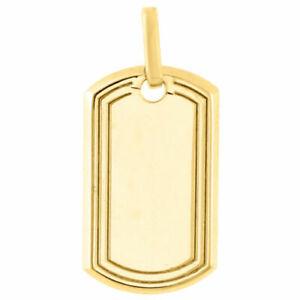 "Real 10K Yellow Gold 2.3 Grams Mini Dog Tag Army Military Pendant 1.20"" Charm"