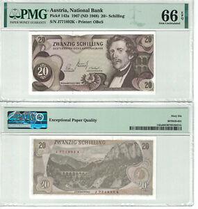 Austria 20 Shilling 1967 Pick# 142a PMG: 66 EPQ GEM UNC. (#2637)