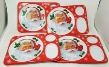 Set of 4 vintage Christmas Plastic Serving Tray with Santa Clause