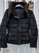 ZARA FUR COLLAR BELT BUCKLE COLLAR DOWN JACKET COAT SIZE XS 8 BLACK WITH HOOD