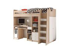 Hochbett Weiß / Eiche 90*200 cm mit Schreibtisch Kleiderschrank Regal Kinderbett