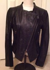 Cache Black Leather Jacket Motorcycle Style ~ Size M (Run Smaller - S )