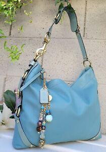 Coach 11636 Carly slim aquamarine smooth Leather Hobo Shoulder Handbag Purse EUC