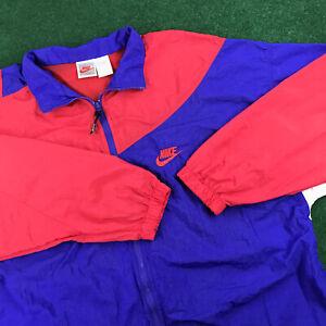 VTG 90S Nike Nylon Windbreaker Jacket Swoosh Check Logo Colorful Block Mens XL
